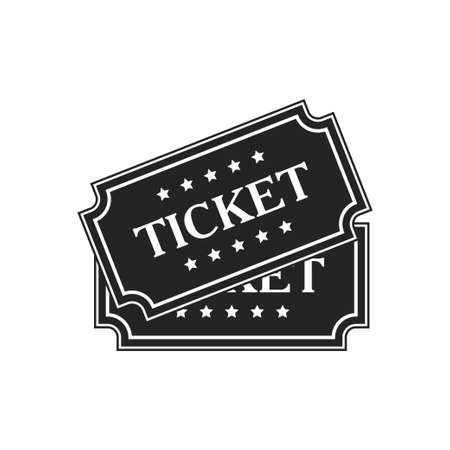 Ticket icon isolated on white background. Vector illustration