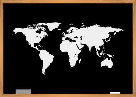 Blackboard with world map. Vector illustration