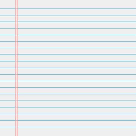 Vector blank lined paper sheet. Notebook page vector illustration