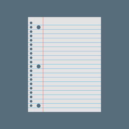 Notebook paper background. Lined paper vector illustration Vetores