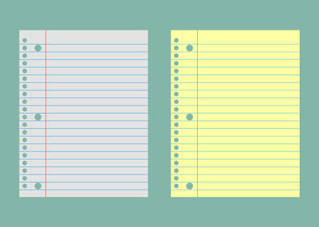 Notebook paper. Yellow and white lined paper vector illustration