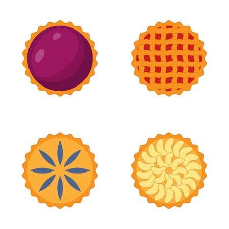 Set pie cartoon icon isolated on white background. Vector illustration