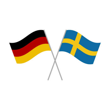 German and Swedish flags icon isolated on white background. Vector illustration Иллюстрация