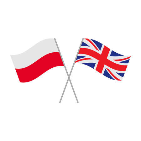Polish and British flags icon isolated on white background. Vector illustration