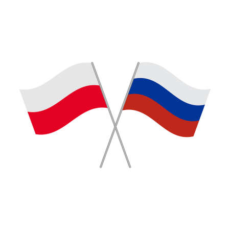 Polish and Russian flags icon isolated on white background. Vector illustration Illustration