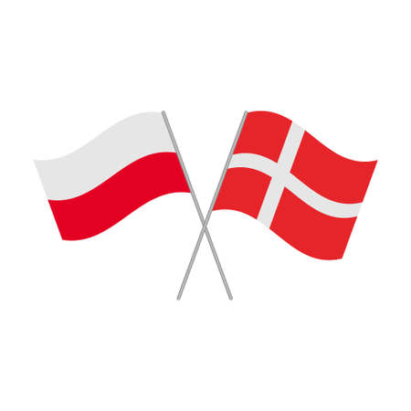 Polish and Danish flags icon isolated on white background. Vector illustration Иллюстрация