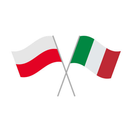 Polish and Italian flags icon isolated on white background. Vector illustration Illustration