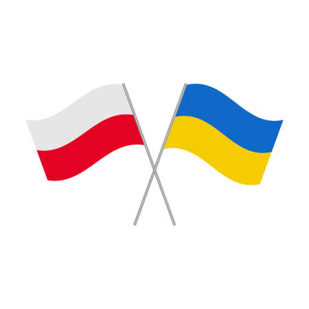 Polish and Ukrainian flags icon isolated on white background. Vector illustration