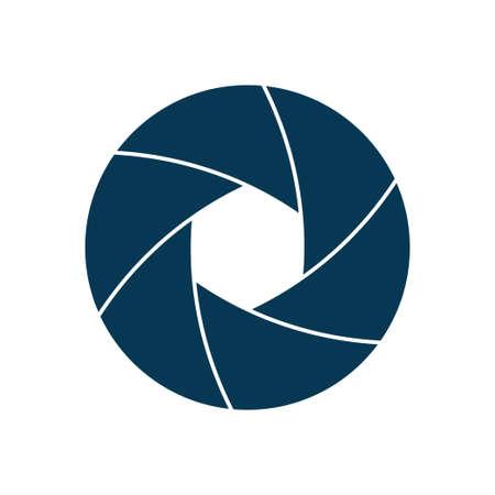 Camera lens shutter icon isolated on white background. Vector illustration