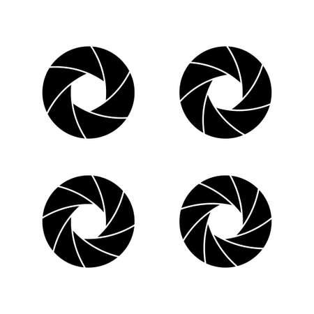 Camera lens shutter set icon isolated on white background. Vector illustration