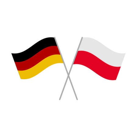 Polish and German flags icon isolated on white background. Vector illustration Иллюстрация