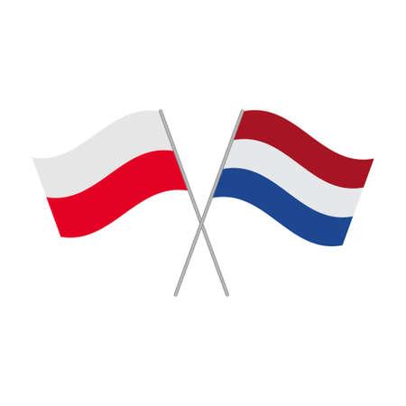 Netherlandish and Polish flags icon isolated on white background. Vector illustration Иллюстрация