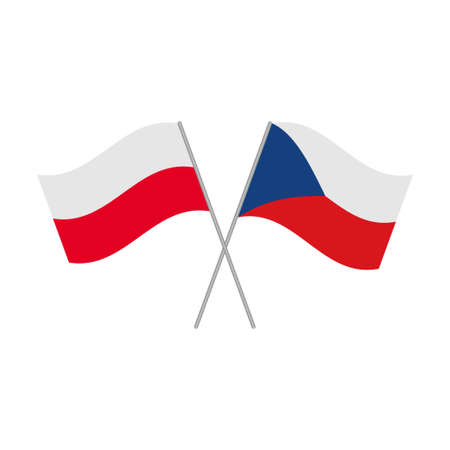 Czech Republic and Poland flags icon isolated on white background. Vector illustration Иллюстрация