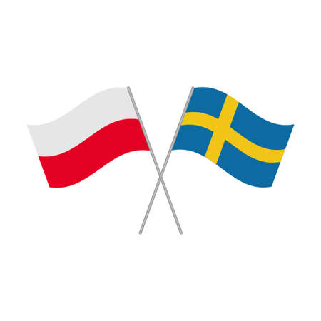 Polish and Swedish flags icon isolated on white background. Vector illustration
