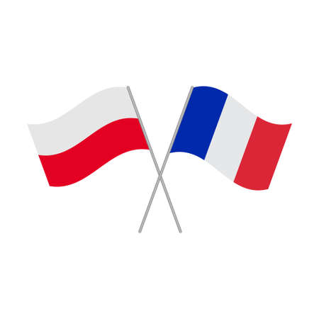 Polish and French flags icon isolated on white background. Vector illustration