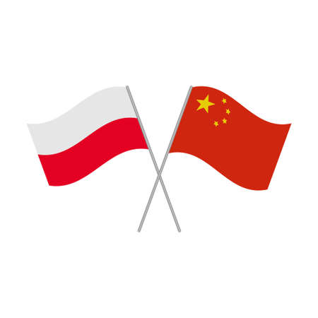 Poland and China flags icon isolated on white background. Vector illustration Illustration