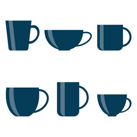 Tea and coffee cup set icon isolated on white background. Vector illustration