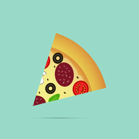 Pizza slice icon, vector illustration
