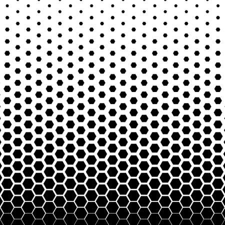 Abstract black and white hexagonal halftone background. Vector illustration