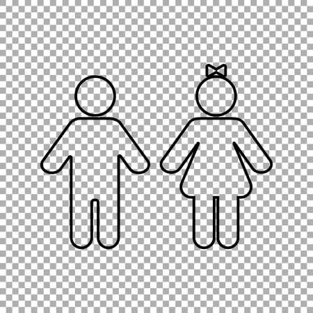 Kids icon on transparent background. Vector illustration