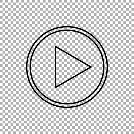 Play button vector icon isolated on transparent background