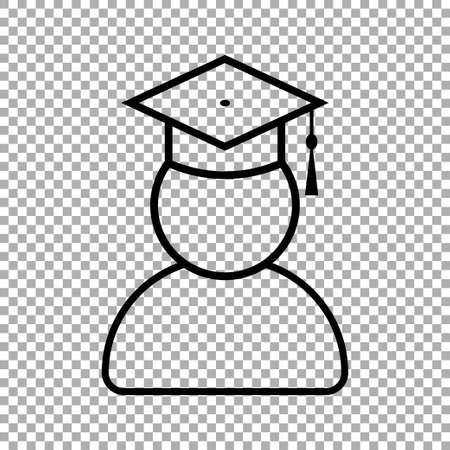 Graduate student with graduation cap icon isolated on transparent background. Vector illustration Ilustração