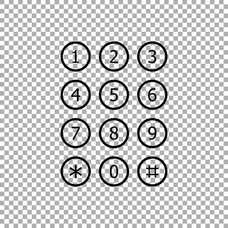Keyboard number telephone. Keypad number icon vector isolated on transparent background