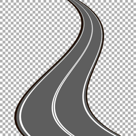 Winding road isolated, highway illustration
