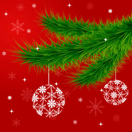Christmas and New Year background with fir branches and balls. Vector illustration