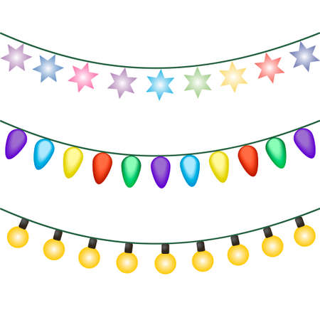 Christmas lights icon vector isolated on white background. Christmas glowing lights