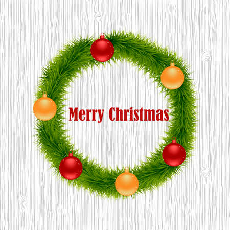 Christmas wreath on a wooden background. Christmas decoration on wooden background. Vector illustration Illustration