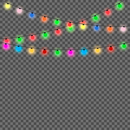 Christmas lights isolated design elements. Set of color garlands. Glowing christmas lights. Vector illustration
