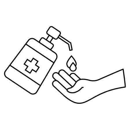 washing hand with hand sanitizer vector illustration