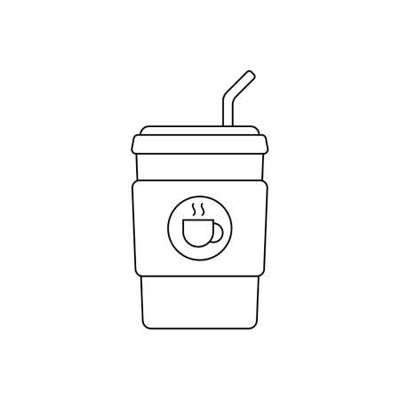 disposable coffee cup icon vector illustration. logo. suitable for web design Çizim