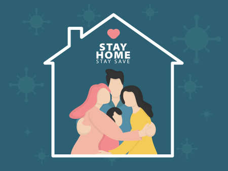 stay home during the epidemic. family staying at home in self quarantine vector illustration in flat style
