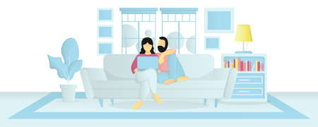 couple stay at home using laptop during the quarantine vector illustration in flat style Illustration