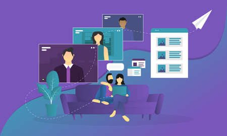 male and female couples using laptop for virtual meeting and group video conference during covid-19 pandemic vector illustration in flat style. social isolation due to corona virus