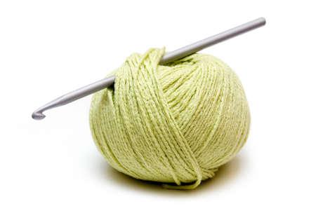 light green yarn ball with crochet needle Stock Photo - 926601