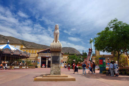 carrousel: entertainment park with carrousel and other attractions
