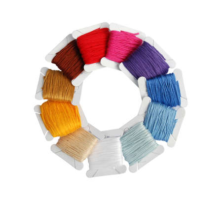 backstitch: selection of mini bobbins with thread in different colors