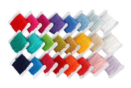 backstitch: selection of small bobbins filled with fine stitching yarn