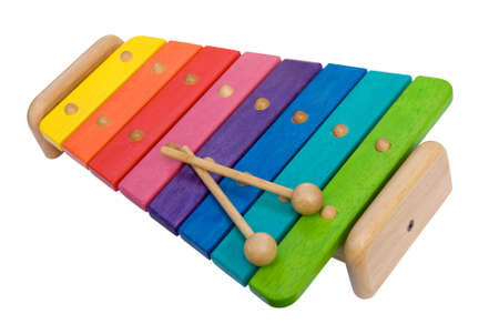 xylophone: Rainbow Colored Wooden Toy Xylophone Stock Photo