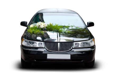 Black Stylish Wedding Limousine Isolated, Decorated with Flowers