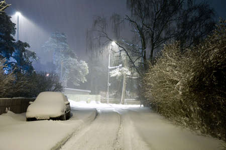 Heavy Snowing, Night Streets, Northern Europe