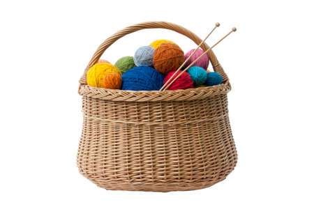 Basket with Colorful Yarn Balls Stok Fotoğraf - 10330925