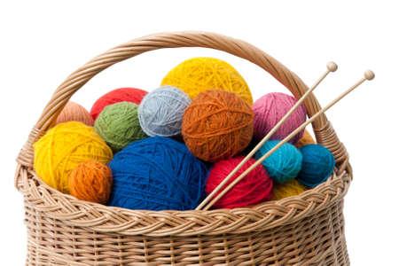 Basket with Colorful Yarn Balls Stok Fotoğraf