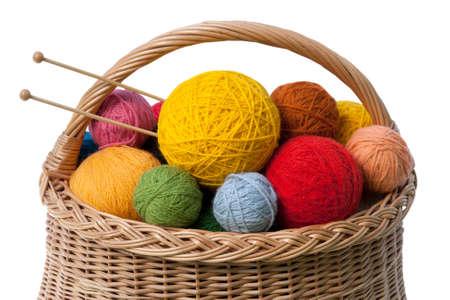 Set of Colorful Yarn Balls in Basket