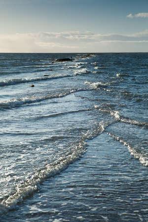 ber: Cape of Saare Tirp, Hiiumaa, Estonia - Cross Waves at Open Sea Stock Photo