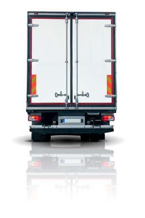 back: Truck trailer - back view with closed doors