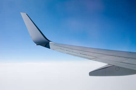 aluminum airplane: Wing of modern high speed jet airplane